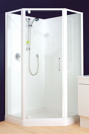 1000 x 1000 angled front with semi-frameless door and returns (available in bright anodised).