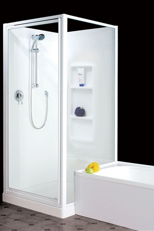 900 x 900 two sided with fully framed  door and return. Flush fitted bath.