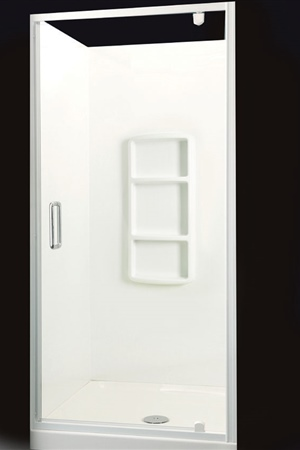 900 x 900 three sided with semi-frameless door (available in bright anodised).