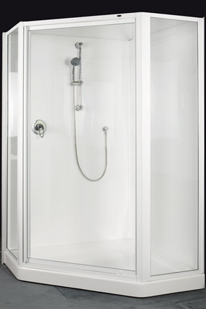 1200 x 1200 angled front shower fully framed  door and return.