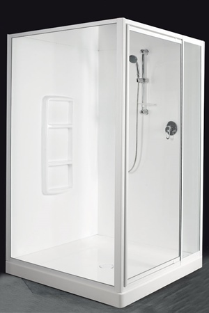 1200 x 1200 two-sided square shower with  fully framed door, fixed panel and return.