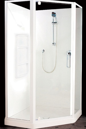950 x 950 angled front with semi-frameless door and returns.